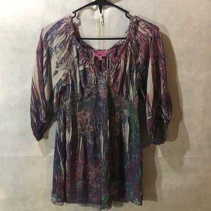 Beautiful tunic, 3/4 sleeves, peacock colors